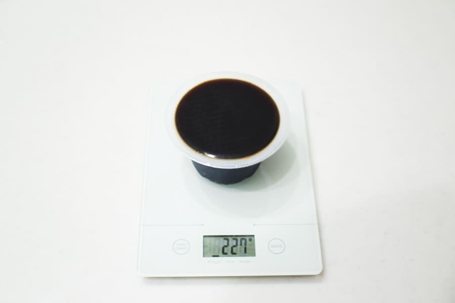 カルディコーヒーゼリーの重さ計測